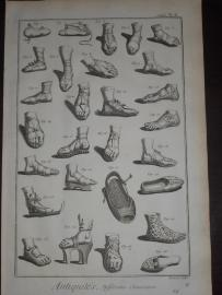 84. ENCYCLOPEDIE DIDEROT, Suite du Recueil de Planches (…). ANTIQUITES. DIFFERENTES CHAUSSURES. Buty antyczne 2 PL. 1777